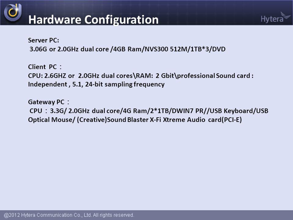 Hardware Configuration Server PC: 3.06G or 2.0GHz dual core /4GB Ram/NVS300 512M/1TB*3/DVD Client PC : CPU: 2.6GHZ or 2.0GHz dual cores\RAM: 2 Gbit\pr