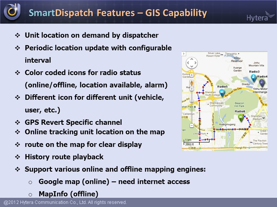 SmartDispatch Features – GIS Capability  Unit location on demand by dispatcher  Periodic location update with configurable interval  Color coded ic