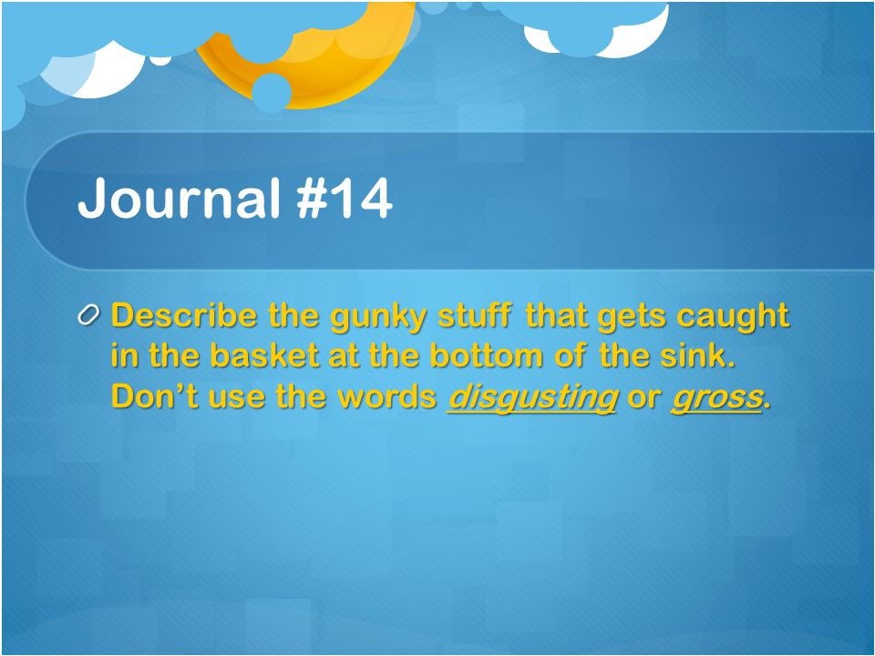 Journal #14 Describe the gunky stuff that gets caught in the basket at the bottom of the sink. Don't use the words disgusting or gross.