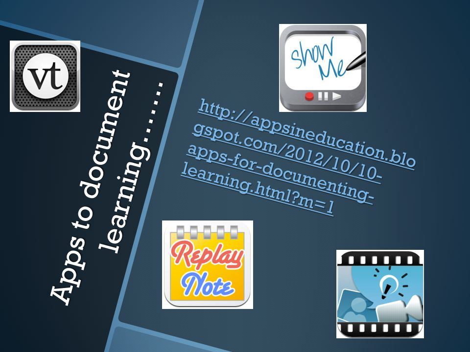 Apps to document learning…….