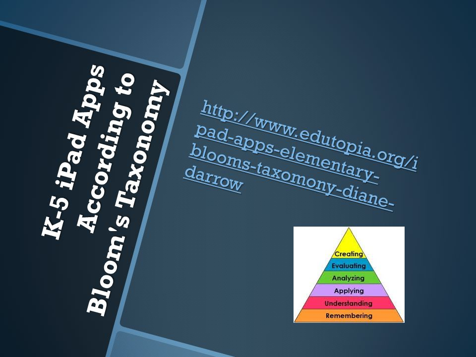K-5 iPad Apps According to Bloom s Taxonomy http://www.edutopia.org/i pad-apps-elementary- blooms-taxomony-diane- darrow http://www.edutopia.org/i pad-apps-elementary- blooms-taxomony-diane- darrow