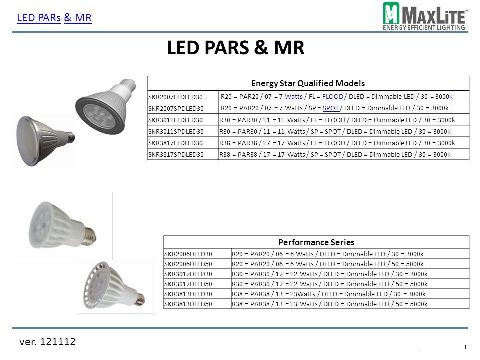 ENERGY EFFICIENT LIGHTING LED PARS & MR ver.