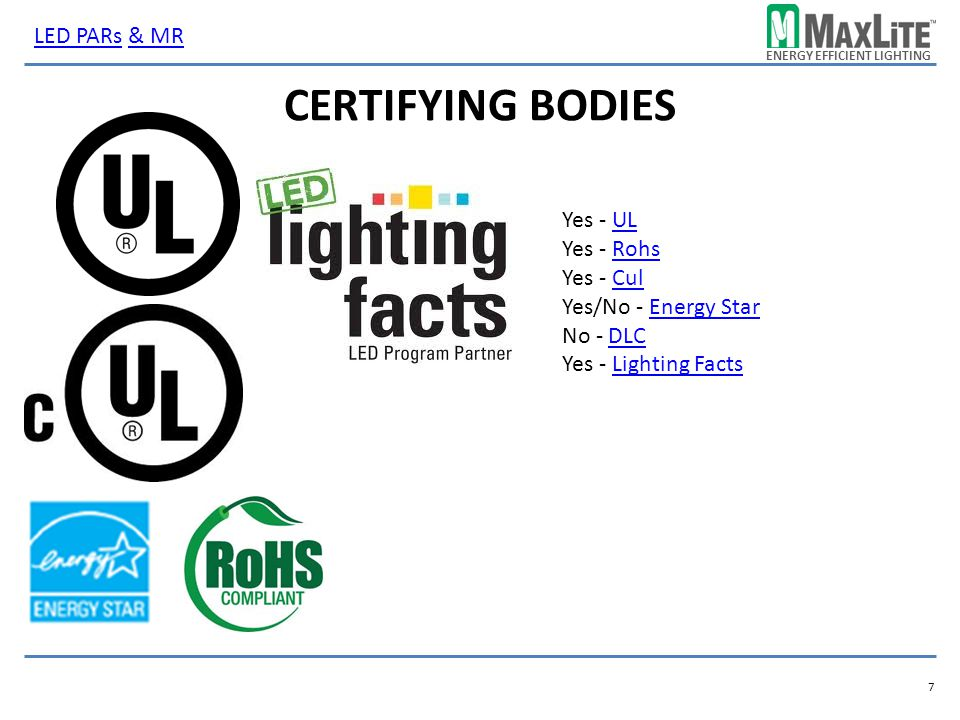 ENERGY EFFICIENT LIGHTING CERTIFYING BODIES Yes - ULUL Yes - RohsRohs Yes - CulCul Yes/No - Energy StarEnergy Star No - DLCDLC Yes - Lighting FactsLig