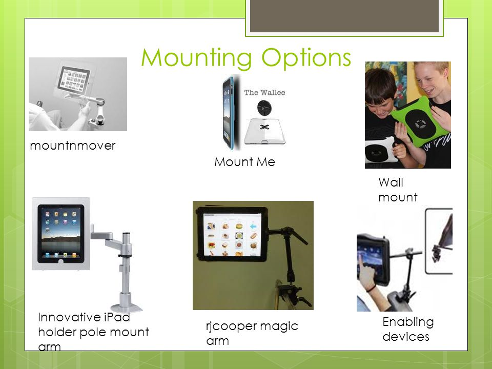 Mounting Options mountnmover Wall mount Mount Me rjcooper magic arm Enabling devices Innovative iPad holder pole mount arm