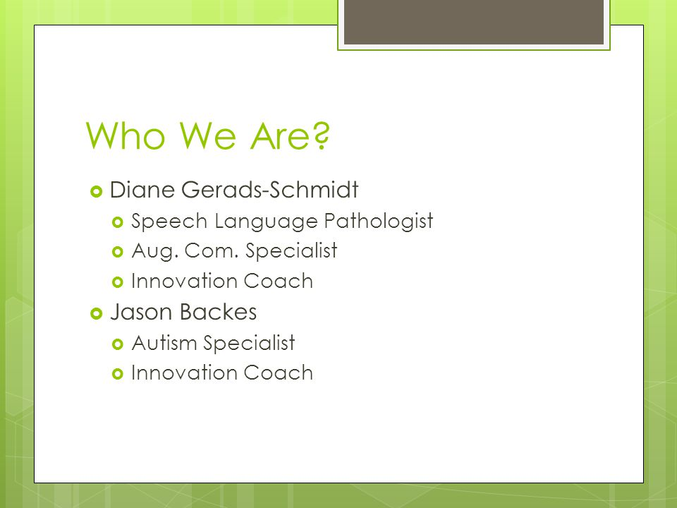 Who We Are.  Diane Gerads-Schmidt  Speech Language Pathologist  Aug.