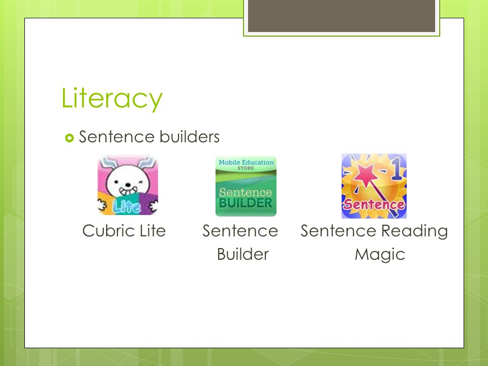 Literacy  Sentence builders Cubric Lite Sentence Sentence Reading Builder Magic