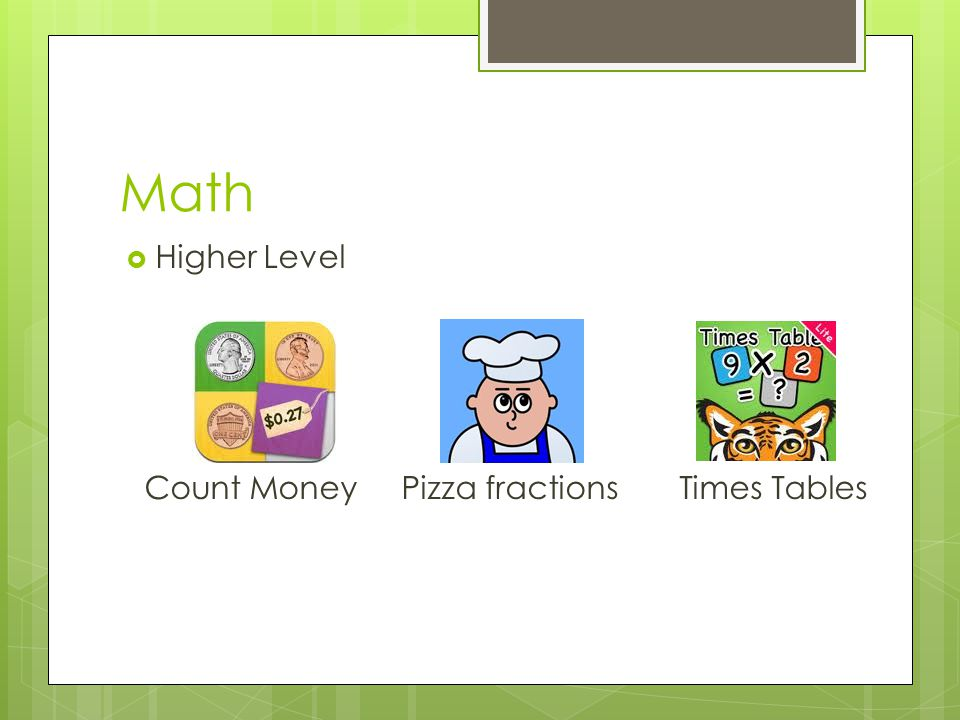Math  Higher Level Count Money Pizza fractions Times Tables