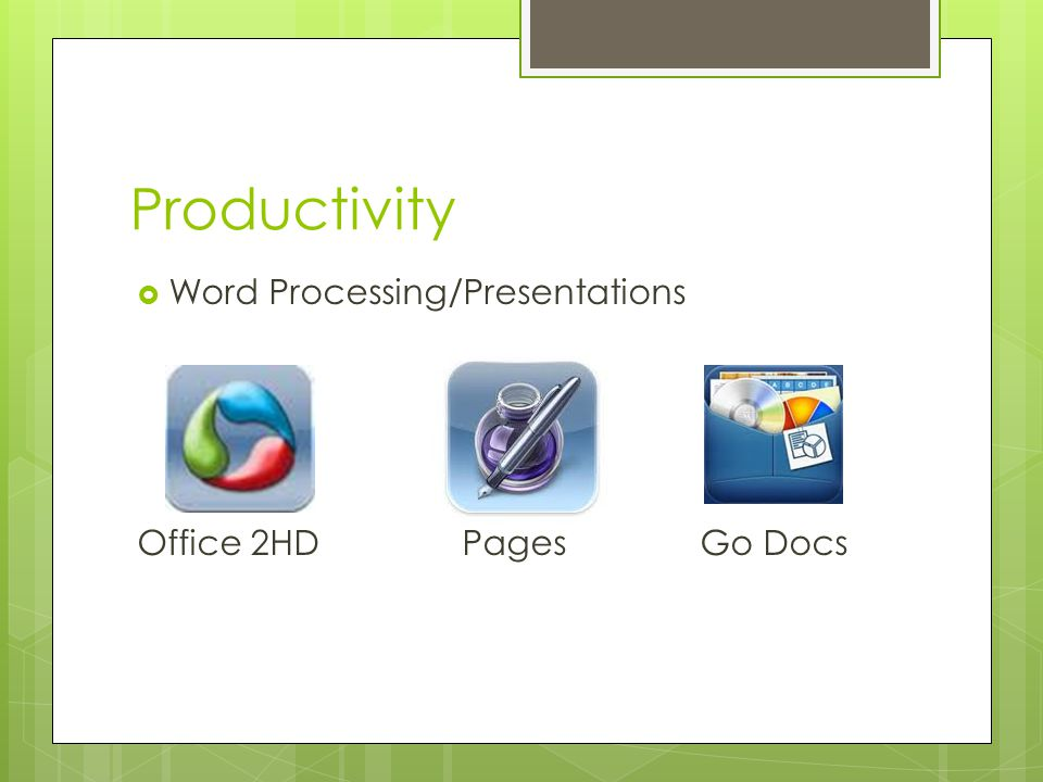 Productivity  Word Processing/Presentations Office 2HD Pages Go Docs
