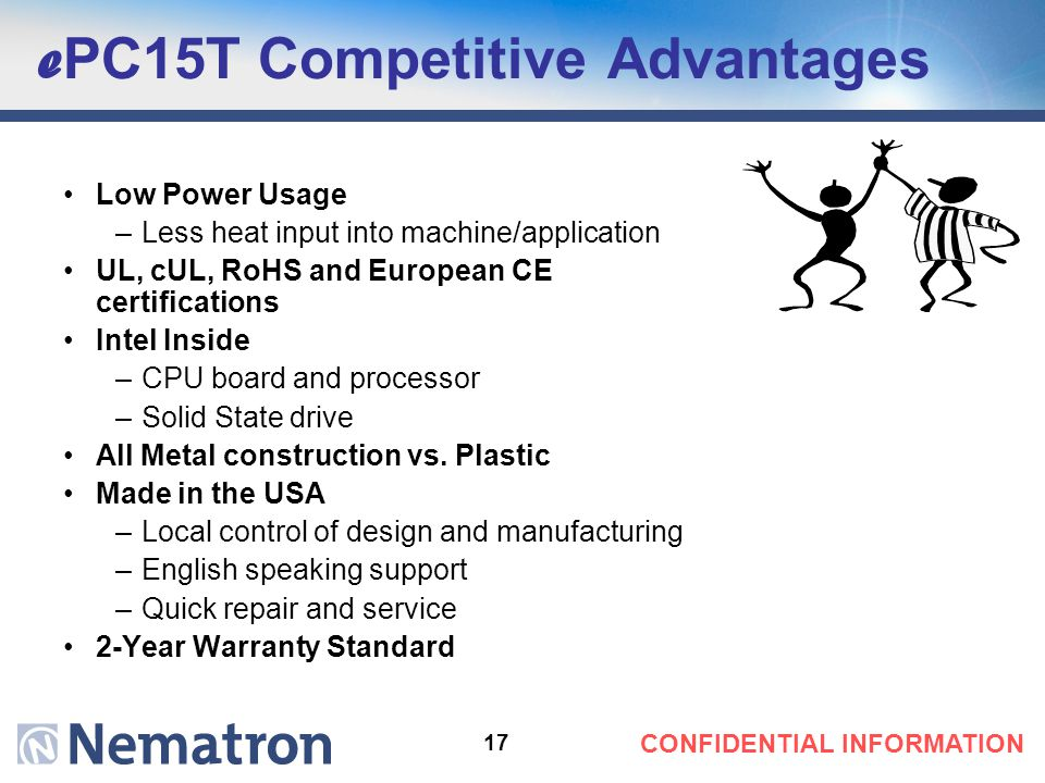 17 CONFIDENTIAL INFORMATION e PC15T Competitive Advantages Low Power Usage –Less heat input into machine/application UL, cUL, RoHS and European CE cer