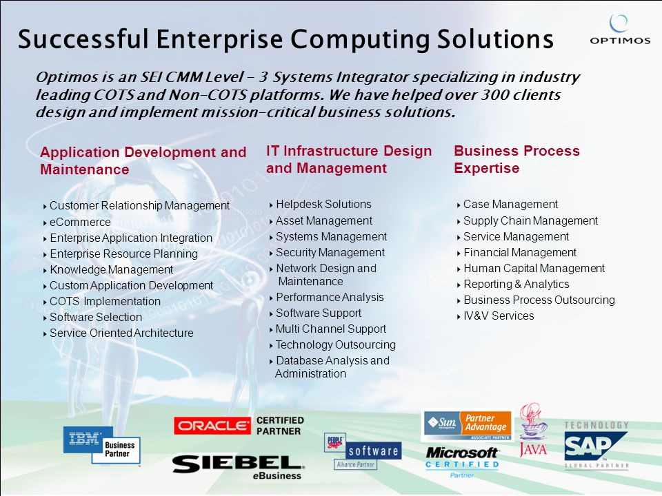 Successful Enterprise Computing Solutions Application Development and Maintenance  Customer Relationship Management  eCommerce  Enterprise Application Integration  Enterprise Resource Planning  Knowledge Management  Custom Application Development  COTS Implementation  Software Selection  Service Oriented Architecture IT Infrastructure Design and Management  Helpdesk Solutions  Asset Management  Systems Management  Security Management  Network Design and Maintenance  Performance Analysis  Software Support  Multi Channel Support  Technology Outsourcing  Database Analysis and Administration Business Process Expertise  Case Management  Supply Chain Management  Service Management  Financial Management  Human Capital Management  Reporting & Analytics  Business Process Outsourcing  IV&V Services Optimos is an SEI CMM Level - 3 Systems Integrator specializing in industry leading COTS and Non-COTS platforms.