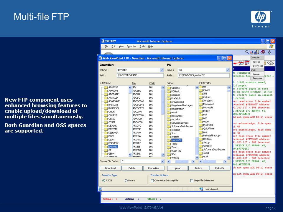 page 7 Web ViewPoint - SJ70 V5 AAH Multi-file FTP New FTP component uses enhanced browsing features to enable upload/download of multiple files simult
