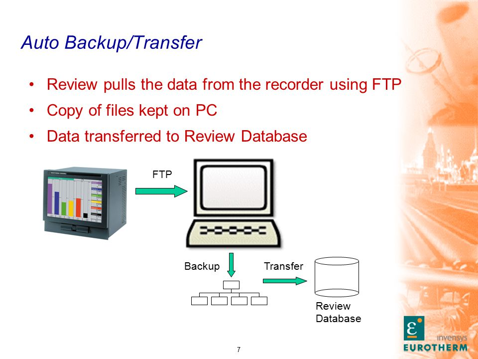 7 Auto Backup/Transfer Review pulls the data from the recorder using FTP Copy of files kept on PC Data transferred to Review Database BackupTransfer Review Database FTP