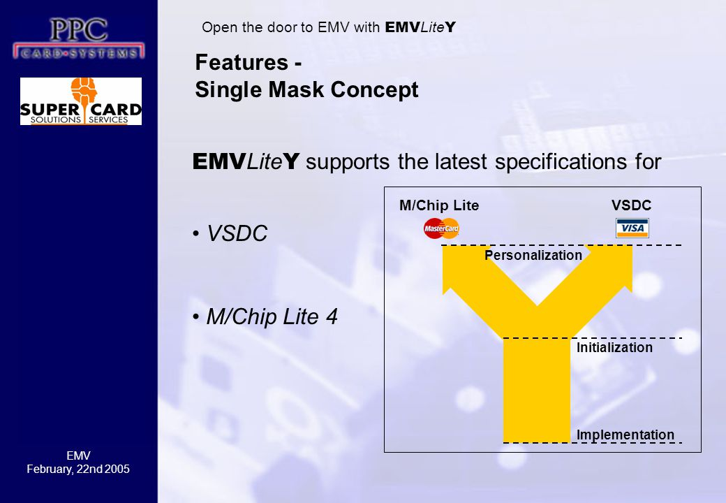 EMV February, 22nd 2005 Features - Single Mask Concept M/Chip LiteVSDC Initialization Implementation Personalization Open the door to EMV with EMV Lite Y EMV Lite Y supports the latest specifications for VSDC M/Chip Lite 4