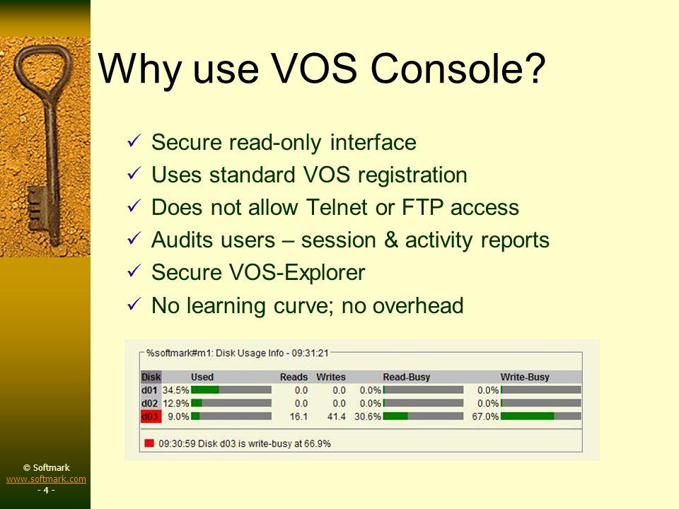 © Softmark www.softmark.com www.softmark.com - 5 - Graphs System Usage: CPU, p.f., I/O, paging, mem Disks: utilization, %busy Queues: utilization, msg processing (TPS) List-users: graphs by %CPU,I/O, %mem