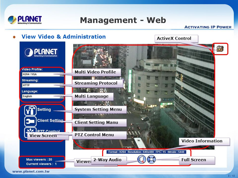www.planet.com.tw 8 / 18 Management - Web View Video & Administration View Screen Multi Video Profile Multi Language Viewer Status Video Information Streaming Protocol System Setting Menu PTZ Control Menu ActiveX Control 2-Way Audio Client Setting Manu Full Screen