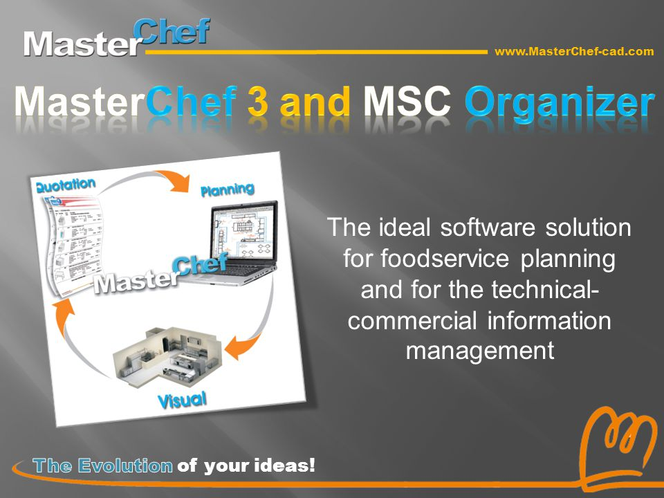 www.MasterChef-cad.com The ideal software solution for foodservice planning and for the technical- commercial information management