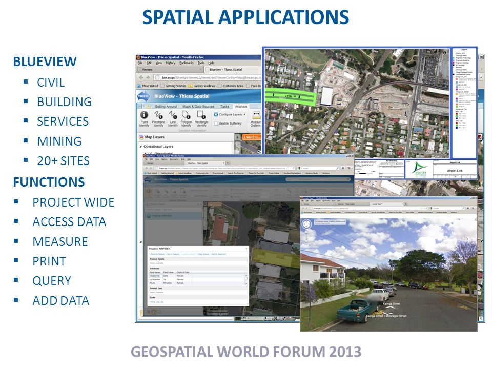 SPATIAL APPLICATIONS GEOSPATIAL WORLD FORUM 2013 BLUEVIEW  CIVIL  BUILDING  SERVICES  MINING  20+ SITES FUNCTIONS  PROJECT WIDE  ACCESS DATA  MEASURE  PRINT  QUERY  ADD DATA