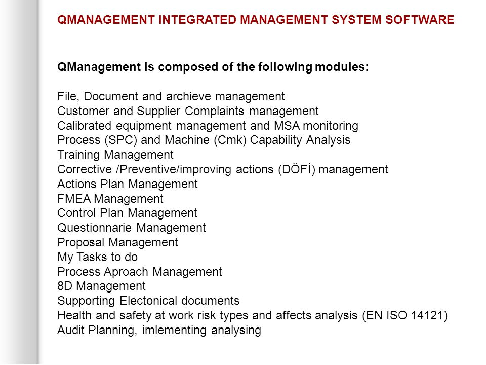 QMANAGEMENT INTEGRATED MANAGEMENT SYSTEM SOFTWARE
