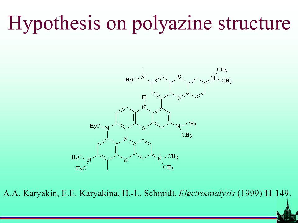 Hypothesis on polyazine structure A.A. Karyakin, E.E. Karyakina, H.-L. Schmidt. Electroanalysis (1999) 11 149.