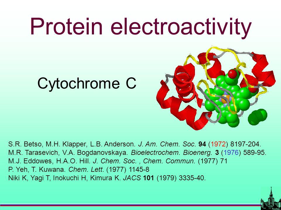Protein electroactivity Cytochrome C S.R. Betso, M.H. Klapper, L.B. Anderson. J. Am. Chem. Soc. 94 (1972) 8197-204. M.R. Tarasevich, V.A. Bogdanovskay