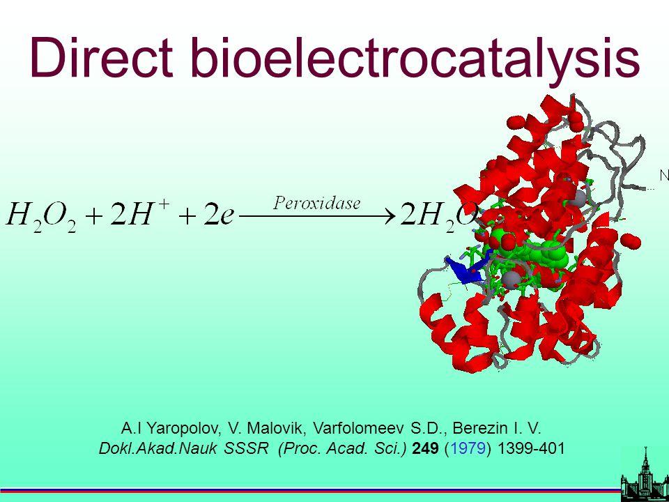 A.I Yaropolov, V. Malovik, Varfolomeev S.D., Berezin I. V. Dokl.Akad.Nauk SSSR (Proc. Acad. Sci.) 249 (1979) 1399-401 Direct bioelectrocatalysis
