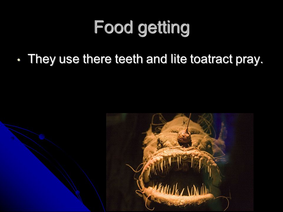 Food getting They use there teeth and lite toatract pray.