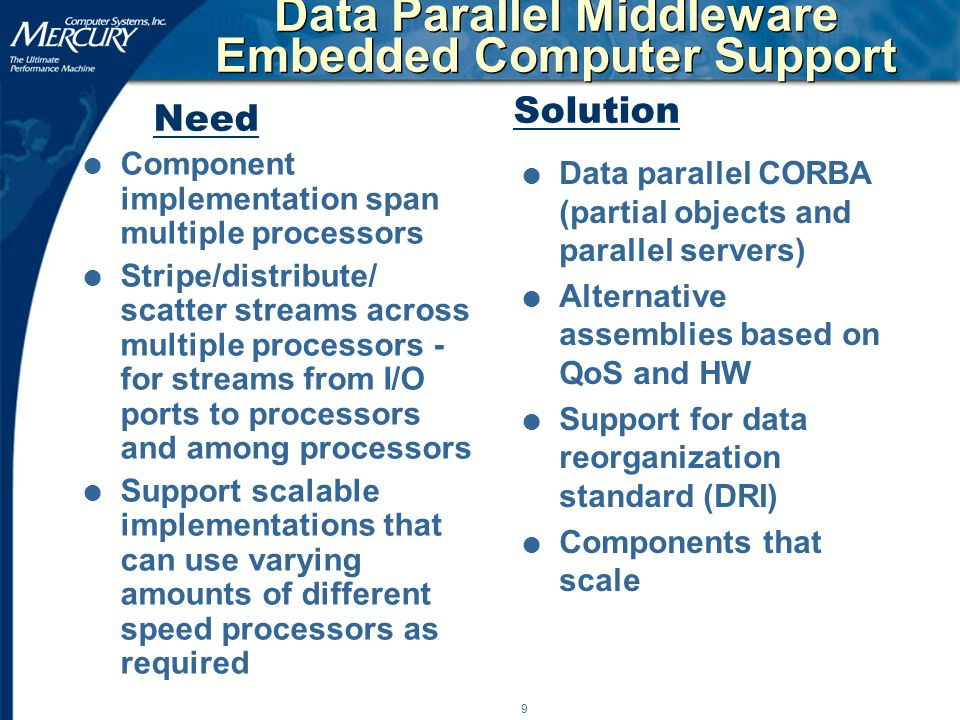 9 Data Parallel Middleware Embedded Computer Support l Component implementation span multiple processors l Stripe/distribute/ scatter streams across multiple processors - for streams from I/O ports to processors and among processors l Support scalable implementations that can use varying amounts of different speed processors as required l Data parallel CORBA (partial objects and parallel servers) l Alternative assemblies based on QoS and HW l Support for data reorganization standard (DRI) l Components that scale Need Solution