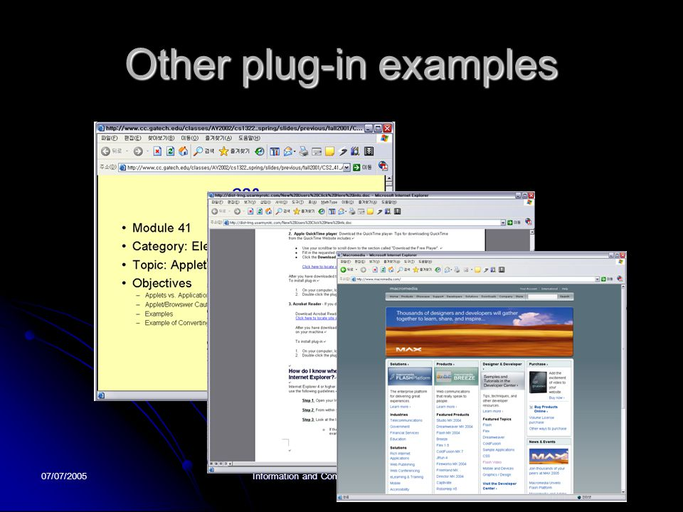 07/07/2005Information and Communication University Other plug-in examples