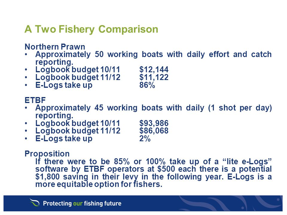 A Two Fishery Comparison Northern Prawn Approximately 50 working boats with daily effort and catch reporting.