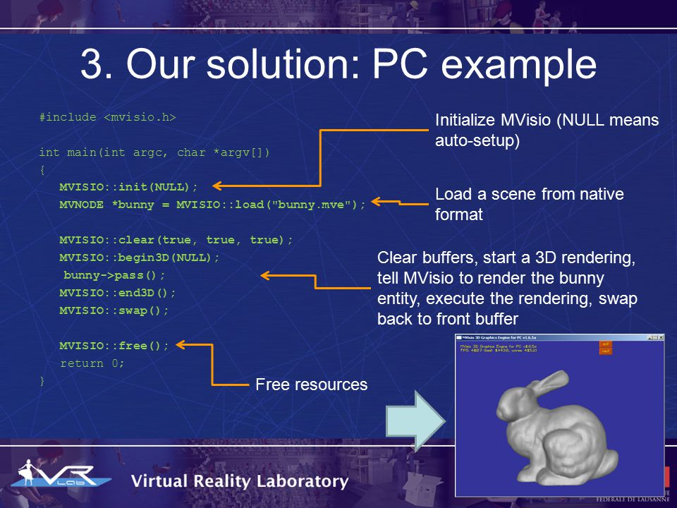 3. Our solution: PC example #include int main(int argc, char *argv[]) { MVISIO::init(NULL); MVNODE *bunny = MVISIO::load(