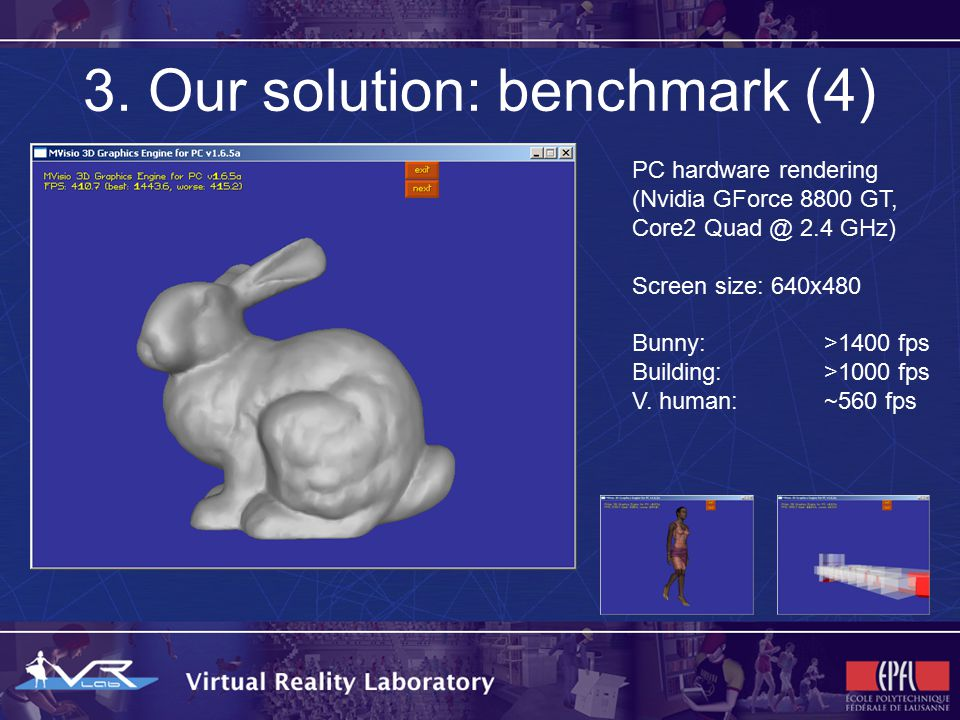 3. Our solution: benchmark (4) PC hardware rendering (Nvidia GForce 8800 GT, Core2 Quad @ 2.4 GHz) Screen size: 640x480 Bunny: >1400 fps Building: >10