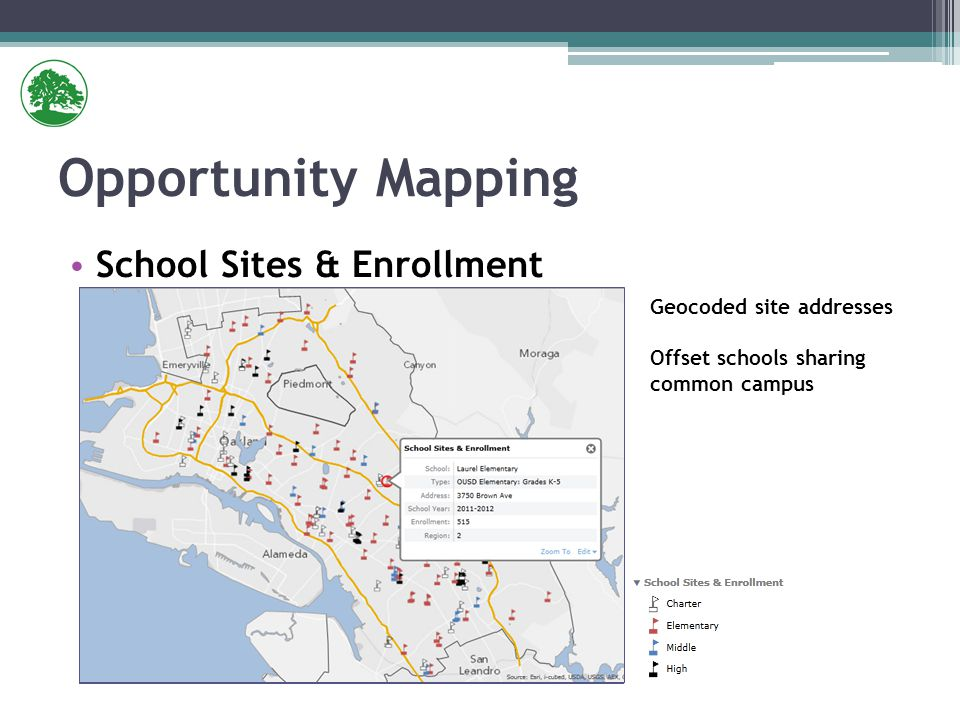 School Sites & Enrollment Opportunity Mapping Geocoded site addresses Offset schools sharing common campus