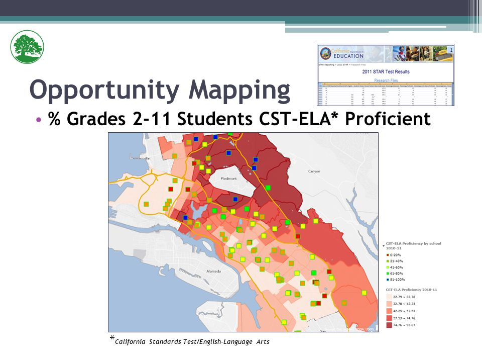 % Grades 2-11 Students CST-ELA* Proficient Opportunity Mapping * California Standards Test/English-Language Arts