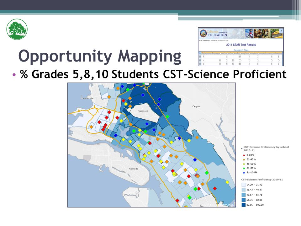 % Grades 5,8,10 Students CST-Science Proficient Opportunity Mapping