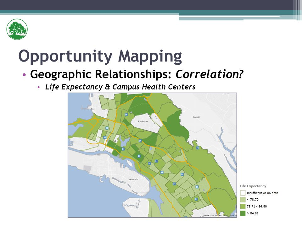 Geographic Relationships: Correlation Life Expectancy & Campus Health Centers Opportunity Mapping