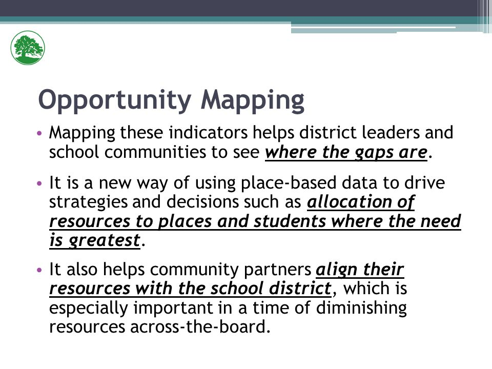 Mapping these indicators helps district leaders and school communities to see where the gaps are.