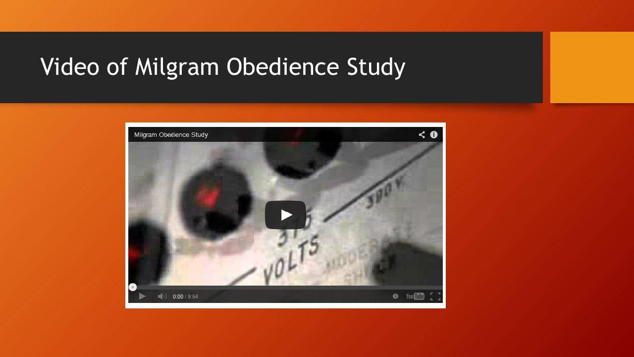 Video of Milgram Obedience Study