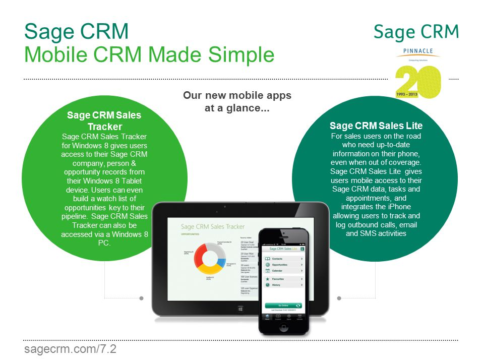 sagecrm.com/7.2 Sage CRM Mobile CRM Made Simple Our new mobile apps at a glance... Sage CRM Sales Lite For sales users on the road who need up-to-date