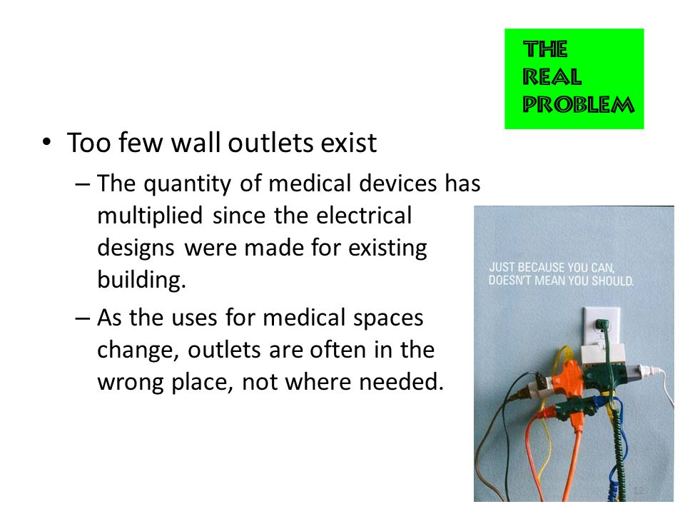 Too few wall outlets exist – The quantity of medical devices has multiplied since the electrical designs were made for existing building.