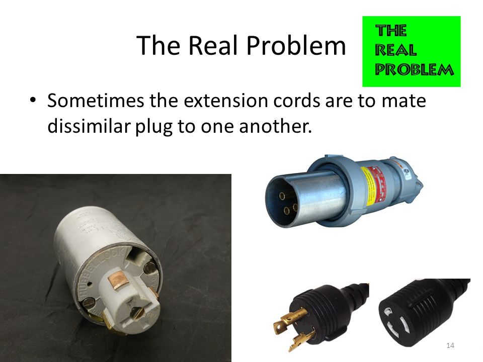 The Real Problem Sometimes the extension cords are to mate dissimilar plug to one another. 14