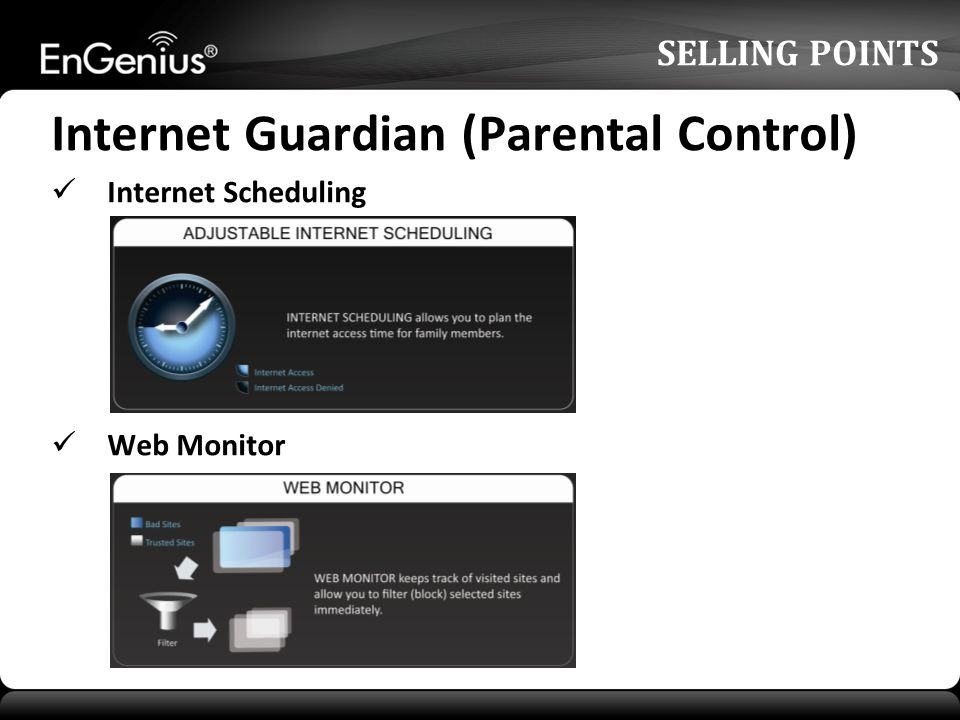 Internet Guardian (Parental Control) Internet Scheduling Web Monitor SELLING POINTS