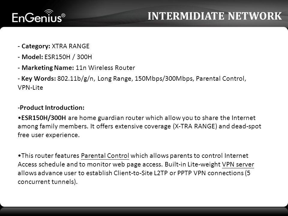 ESR300H 2T2R, 802.11b/g/n 300Mbps 10/100 Fast Ethernet Up to 23dbm High Power Internet Guardian VPN-Lite INTERMIDIATE NETWORK