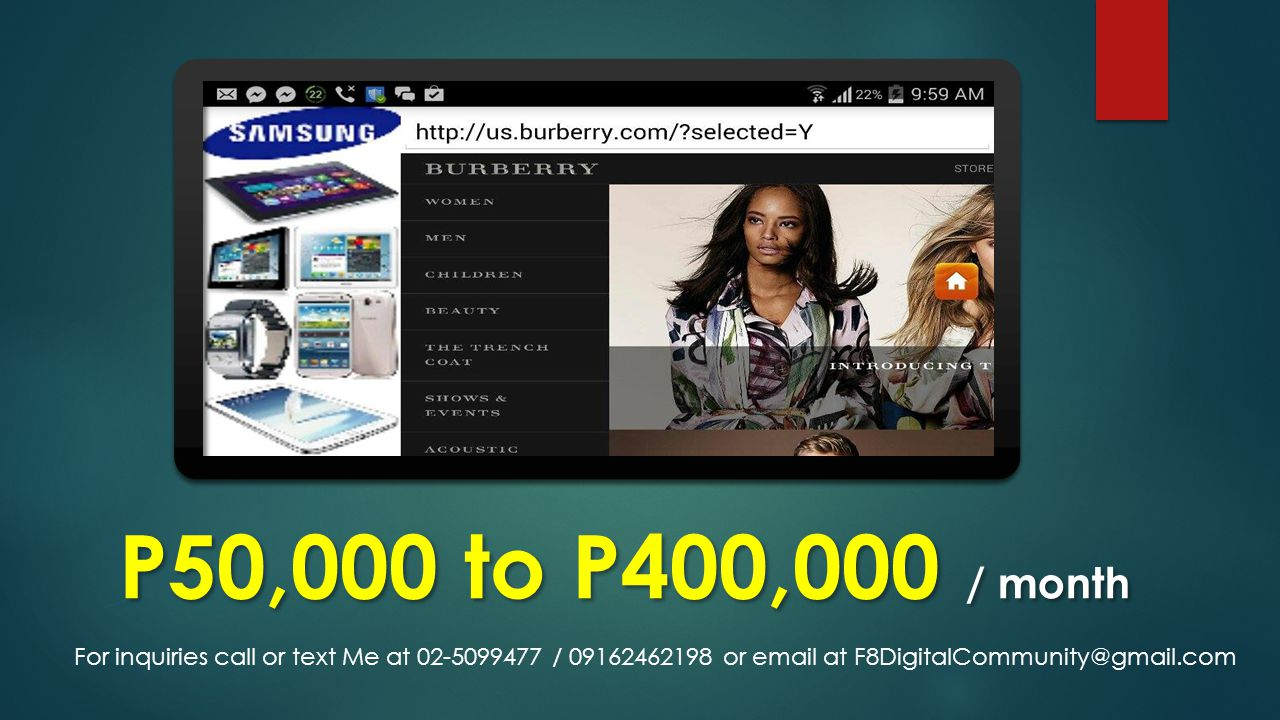 P50,000 to P400,000 / month For inquiries call or text Me at 02-5099477 / 09162462198 or email at F8DigitalCommunity@gmail.com