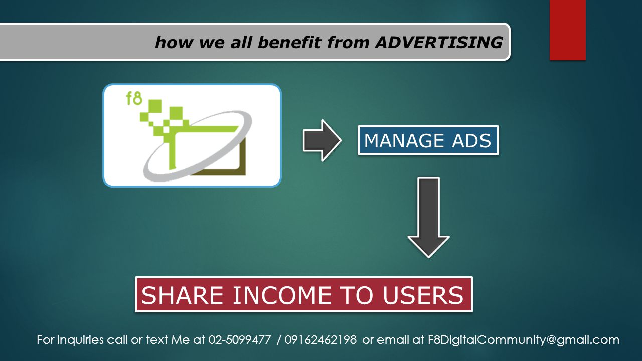 how we all benefit from ADVERTISING MANAGE ADS SHARE INCOME TO USERS For inquiries call or text Me at 02-5099477 / 09162462198 or email at F8DigitalCo