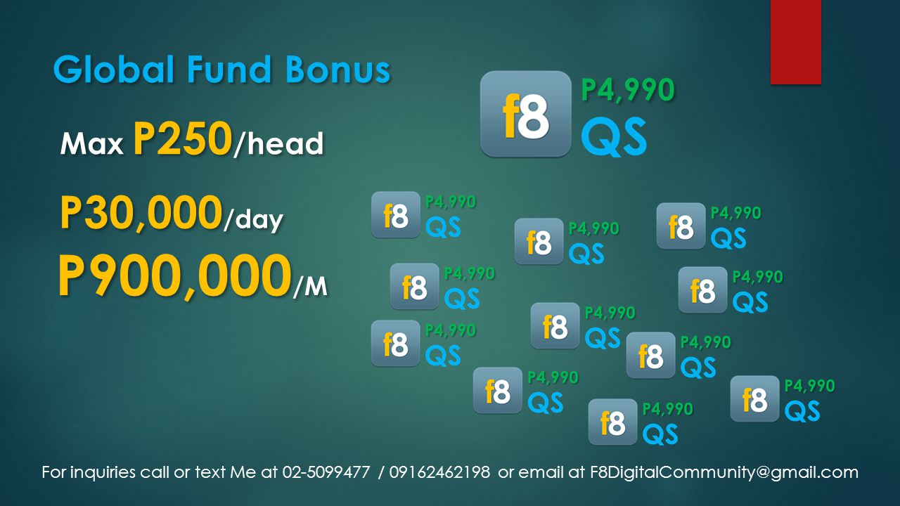 Global Fund Bonus Max P250 /head P30,000 /day P900,000 /M For inquiries call or text Me at 02-5099477 / 09162462198 or email at F8DigitalCommunity@gma