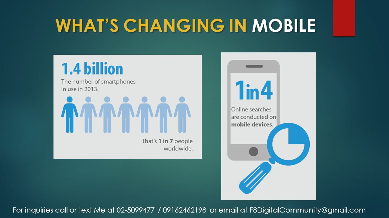 WHAT'S CHANGING IN MOBILE For inquiries call or text Me at 02-5099477 / 09162462198 or email at F8DigitalCommunity@gmail.com