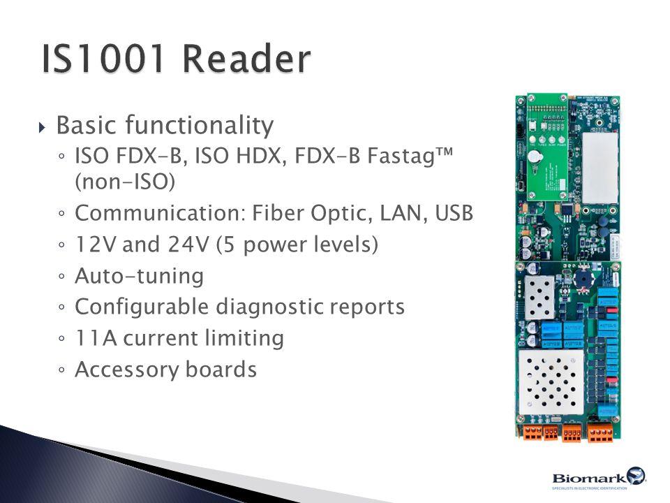  Basic functionality ◦ ISO FDX-B, ISO HDX, FDX-B Fastag™ (non-ISO) ◦ Communication: Fiber Optic, LAN, USB ◦ 12V and 24V (5 power levels) ◦ Auto-tunin