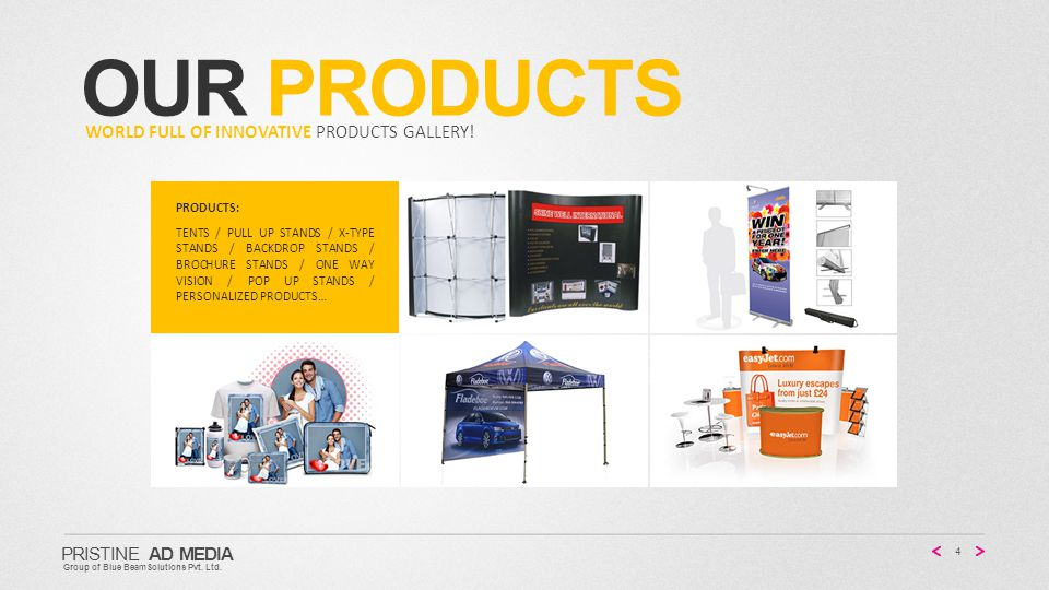 OUR PRODUCTS 4 PRISTINE AD MEDIA Group of Blue BeamSolutions Pvt.