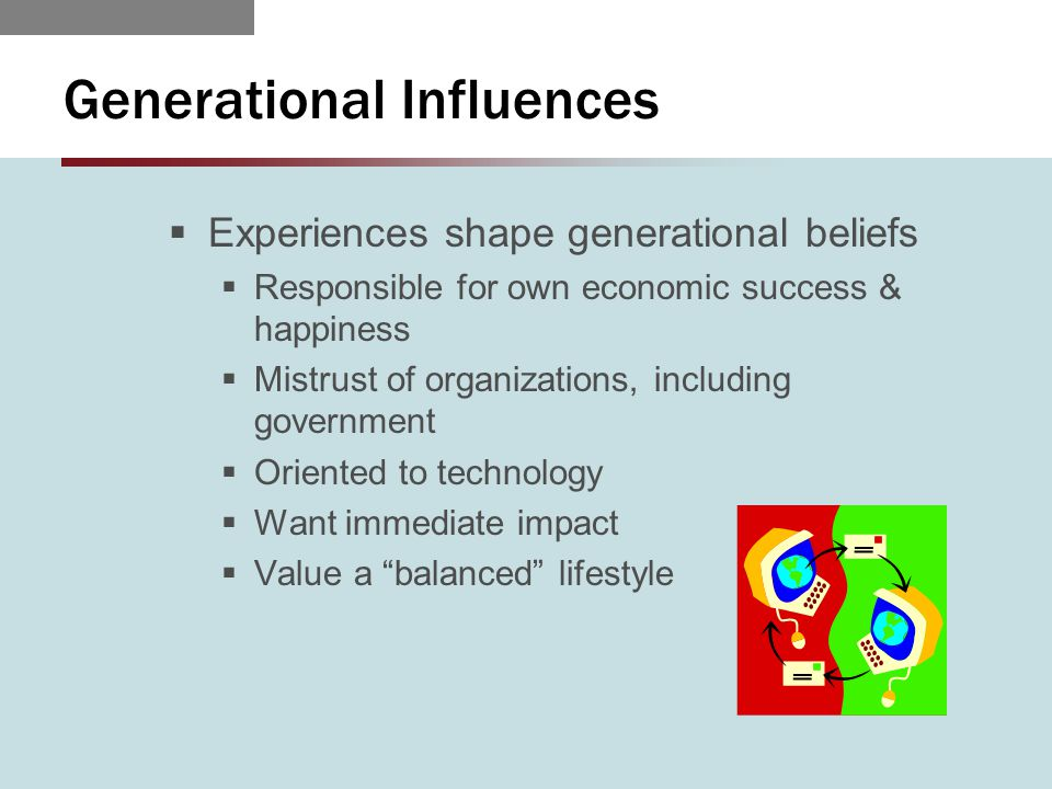 Generational Influences  Experiences shape generational beliefs  Responsible for own economic success & happiness  Mistrust of organizations, including government  Oriented to technology  Want immediate impact  Value a balanced lifestyle