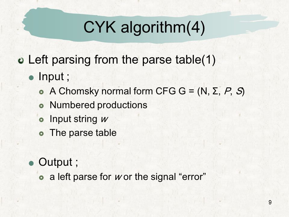 9 CYK algorithm(4) Left parsing from the parse table(1)  Input ;  A Chomsky normal form CFG G = (N, Σ, P, S)  Numbered productions  Input string w